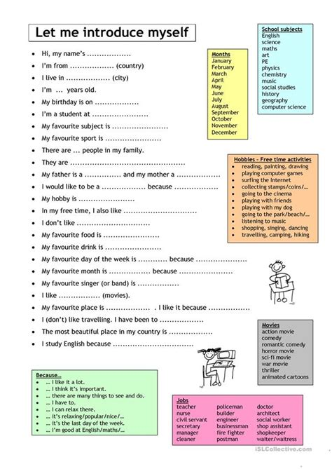 Let me introduce myself - English ESL Worksheets for distance learning and physical classrooms